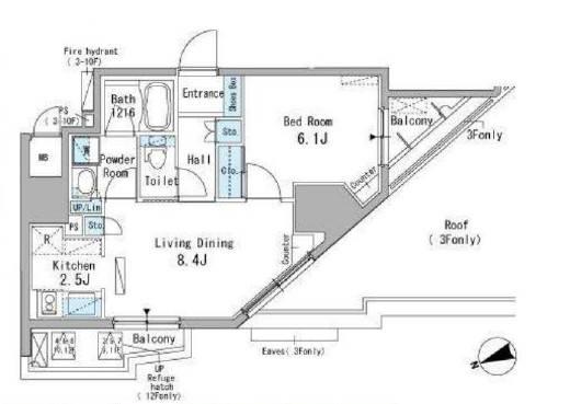 <豊島区 賃貸マンション>駒込3丁目 1DK パークアクシス駒込