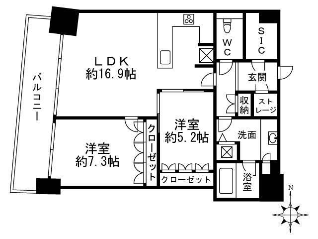 <横浜市西区 賃貸マンション>みなとみらい4丁目 2LDK M.M.TOWERS FORESIS-R棟