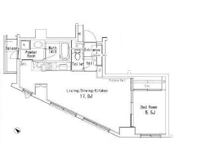 <港区 賃貸マンション>赤坂6丁目 1LDK パークアクシス六本木檜町公園